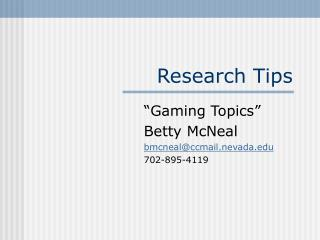 Research Tips