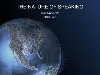 THE Way OF SPEAKING