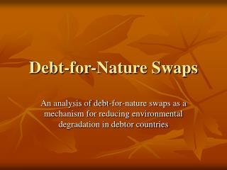 Obligation for-Nature Swaps