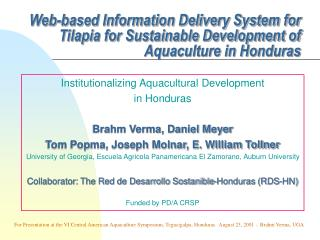 Electronic Data Conveyance Framework for Tilapia for Practical Improvement of Aquaculture in Honduras