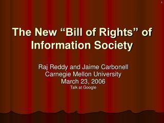 "The New ""Bill of Rights"" of Data Society"