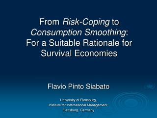 From Risk-Coping to Consumption Smoothing : For a Suitable ...