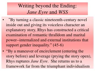 Composing past the Ending: Jane Eyre and WSS