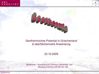 Geothermisches Potential in Griechenland oberfl chennahe Anwendung 23.10.2009