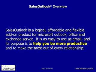SalesOutlook Overview