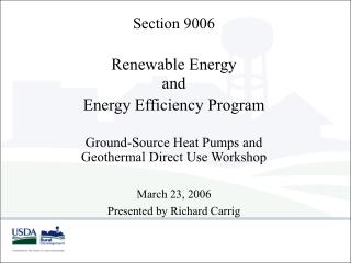 Segment 9006 Renewable Energy and Energy Efficiency Program Ground-Source Heat Pumps and Geothermal Direct Use Wo