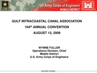 Inlet INTRACOASTAL CANAL ASSOCIATION 104th ANNUAL CONVENTION AUGUST 13, 2009
