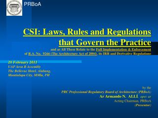 Laws, guidelines and regulations