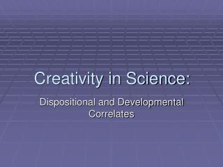 Innovativeness in Science: