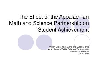 The Effect of the Appalachian Math and Science Partnership on Student Achievement