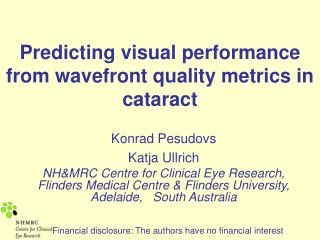 Anticipating visual execution from wavefront quality measurements in waterfall