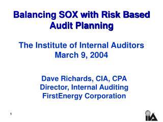 Adjusting SOX with Risk Based Audit Planning