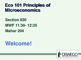 Eco 101 Principles of Microeconomics