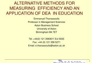 Elective METHODS FOR MEASURING EFFICIENCY AND AN APPLICATION OF DEA IN EDUCATION
