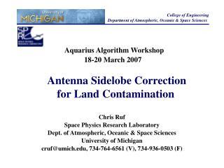 Aquarius Algorithm Workshop 18-20 March 2007
