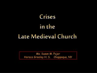 Emergencies in the Late Medieval Church