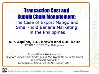 Exchange Cost and Supply Chain Management: The Case of Export Mango and Small-hold Banana Marketing in the Phili