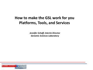 The most effective method to make the GSL work for you Platforms, Tools, and Services