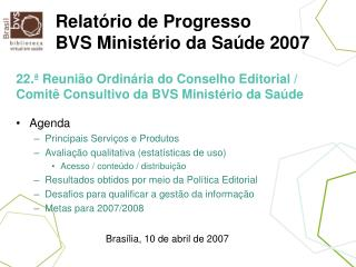 Relat rio de Progresso BVS Minist rio da Sa de 2007