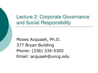Address 2: Corporate Governance and Social Responsibility