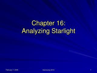 Section 16: Analyzing Starlight