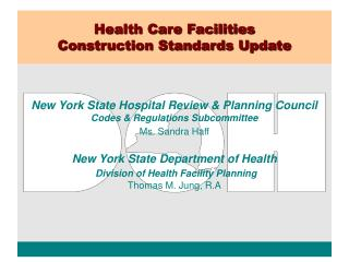Medicinal services Facilities Construction Standards Update