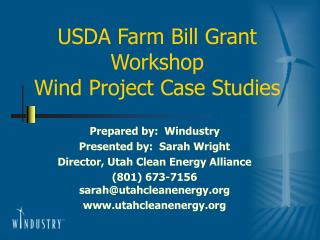 USDA Farm Bill Grant Workshop Wind Project Case Studies