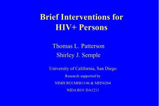 Brief Interventions for HIV Persons