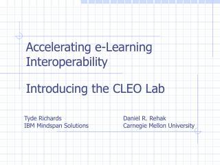 Quickening e-Learning Interoperability