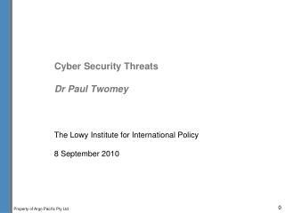 Digital Security Threats Dr Paul Twomey