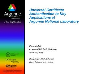 General Certificate Authentication to Key Applications at Argonne National Laboratory