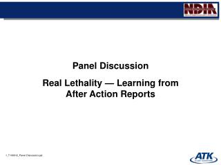 Board Discussion Real Lethality Learning from After Action Reports