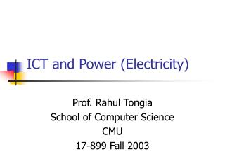 ICT and Power Electricity
