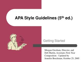 APA Style Guidelines fifth ed.