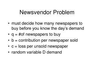 Newsvendor Problem