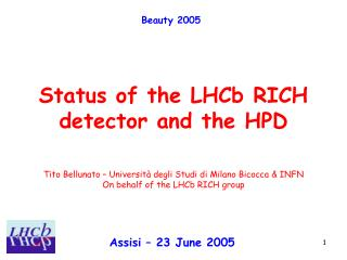 Status of the LHCb RICH identifier and the HPD