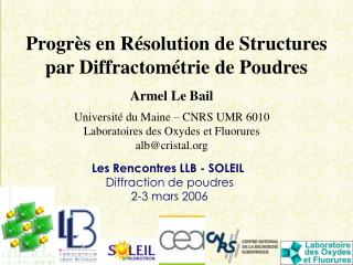 Progr s en R arrangement de Structures standard Diffractom trie de Poudres