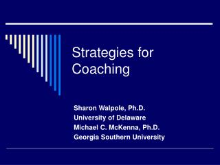 Methods for Coaching