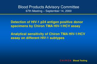 Blood Products Advisory Committee 67th Meeting September 14, 2000