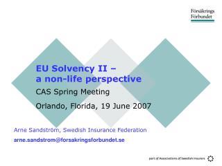 EU Solvency II a non-life viewpoint