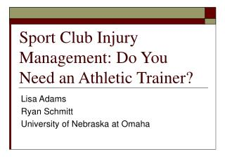 Game Club Injury Management: Do You Need an Athletic Trainer