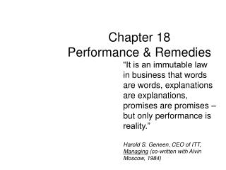 Part 18 Performance Remedies