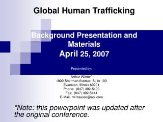 Worldwide Human Trafficking Background Presentation and Materials April 25, 2007