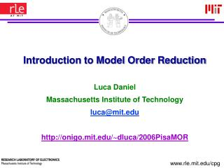 Prologue to Model Order Reduction