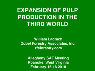 Extension OF PULP PRODUCTION IN THE THIRD WORLD
