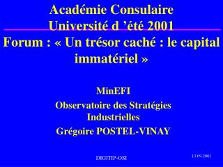 Acad mie Consulaire Universit d t 2001 Forum : Un tr sor cach : le capital immat riel