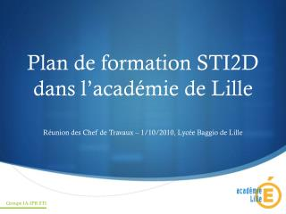 Arrangement de development STI2D dans l acad mie de Lille