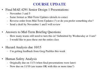 COURSE UPDATE