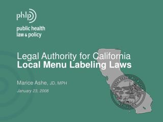 Lawful Authority for California Local Menu Labeling Laws