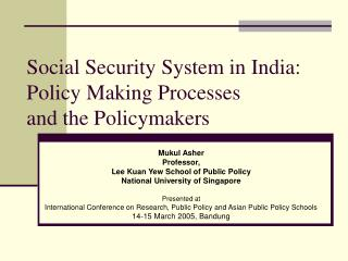 Standardized savings System in India: Policy Making Processes and the Policymakers